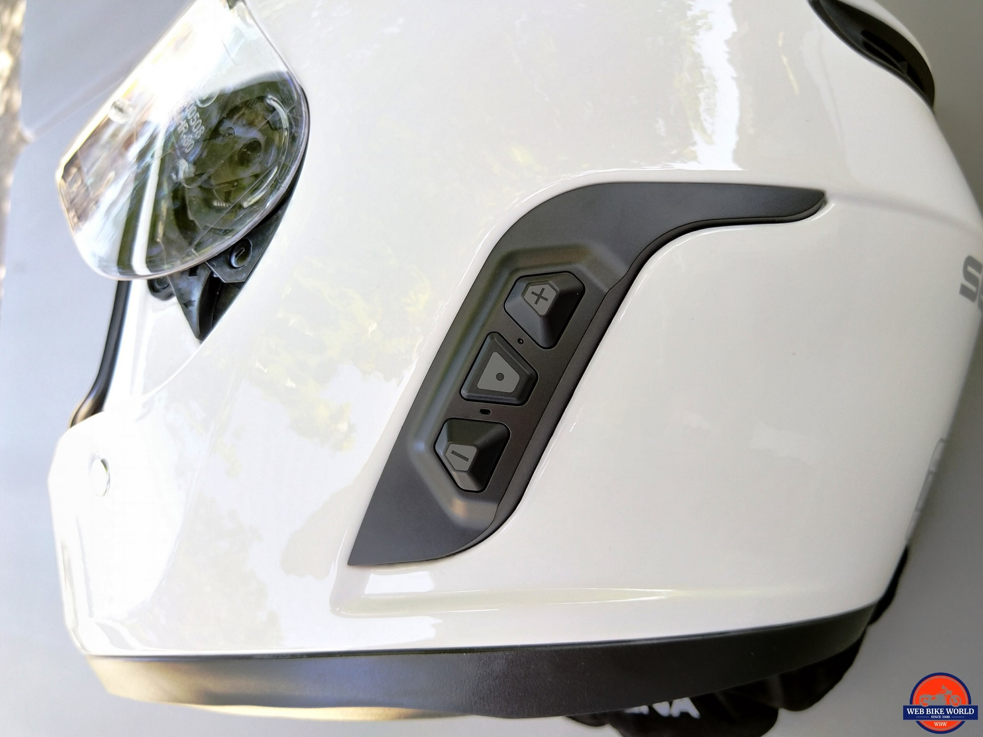 Sena Momentum Pro Helmet - Bluetooth Panel on side of helmet