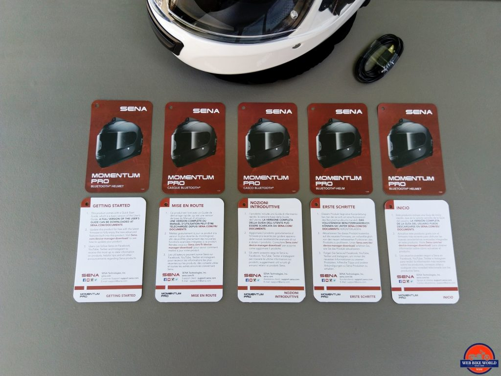 Sena Momentum Pro Helmet and Quick Start guides