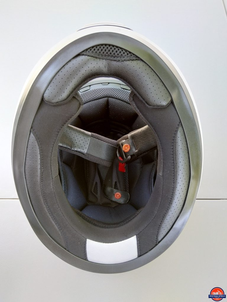 Sena Momentum Pro Helmet - interior view of lining, padding, d-rings, etc.