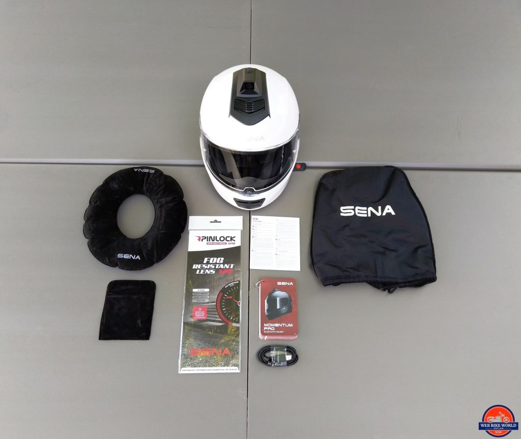 Sena Momentum Pro Helmet and included accessories
