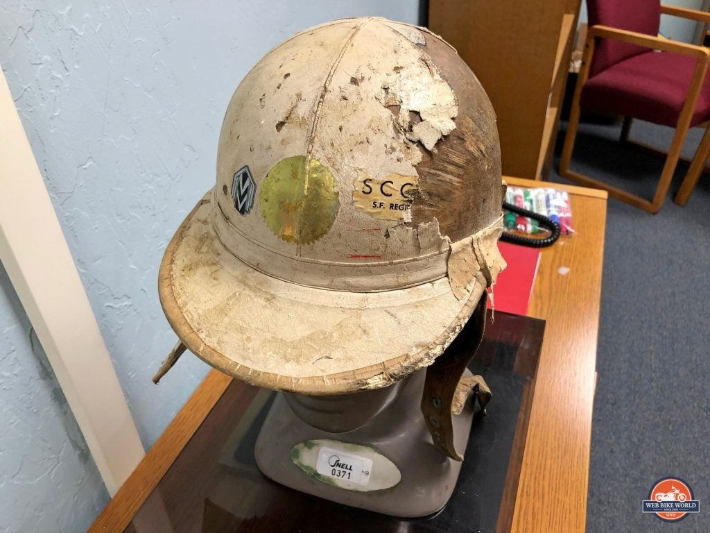 Pete Snell's damaged helmet