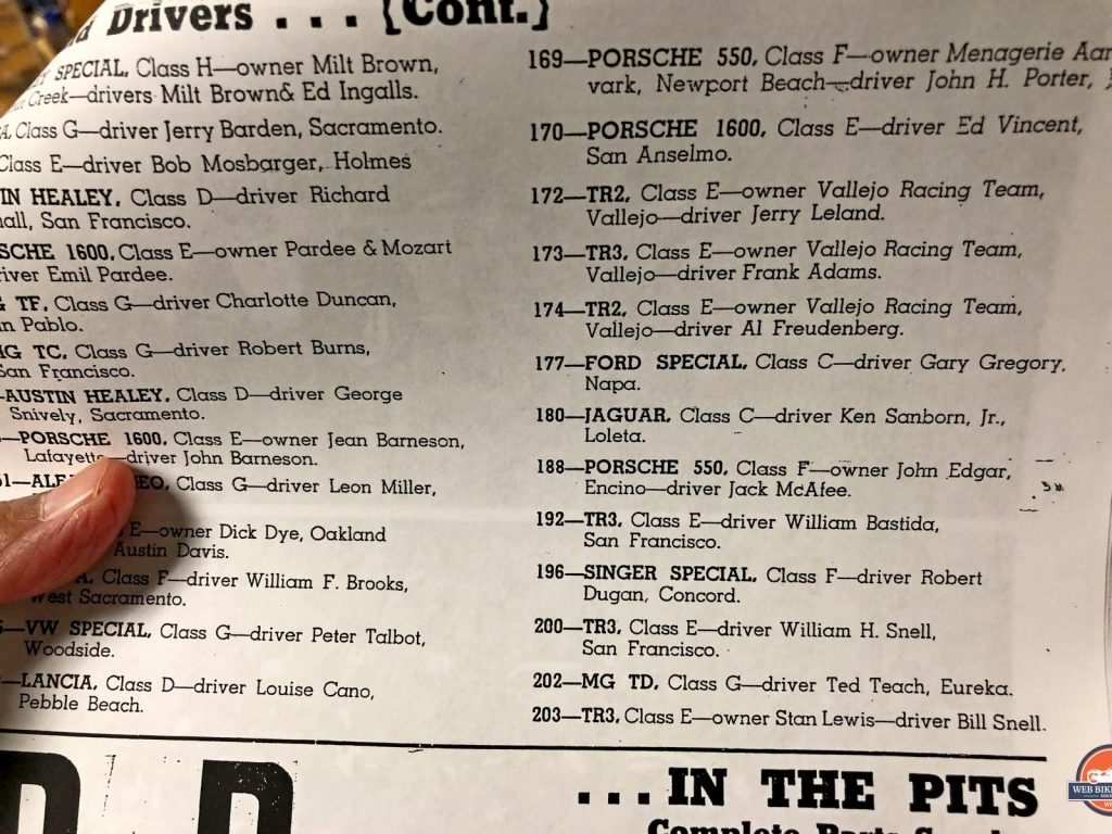 The program from the 1957 race showing William H. Snell in car number 200