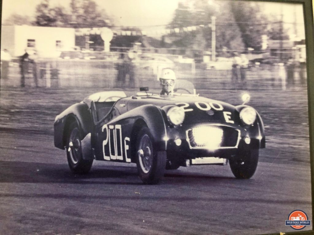 William Snell driving his TR3 race car moments before the crash that claimed his life.