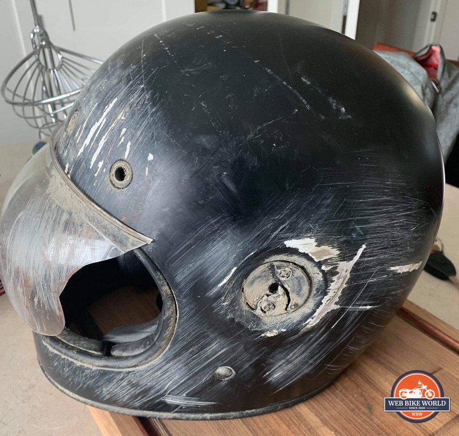 My friend's Bell Bullitt helmet after crashing.