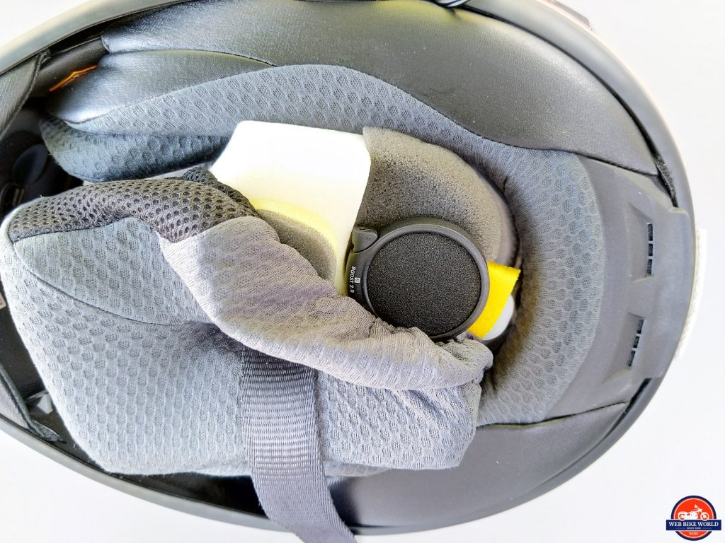 UClear AMP Go BT System speaker setup tucked away inside helmet