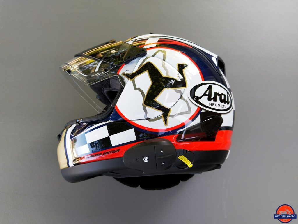 UClear AMP Go BT System fitted on Arai Helmet