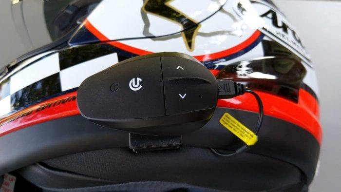 UClear AMP Go BT System mounted on Arai Helmet