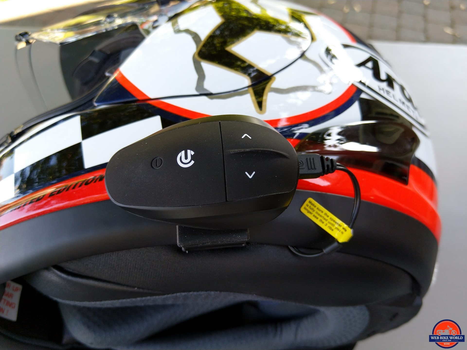 UClear AMP Go BT System mounted on Arai Helmet
