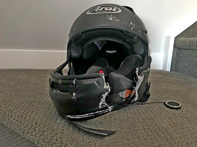 Destroyed helmet after a crash.