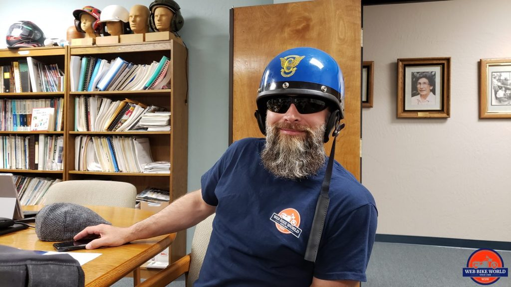 Me wearing a California Highway Patrol helmet from the Snell collection.