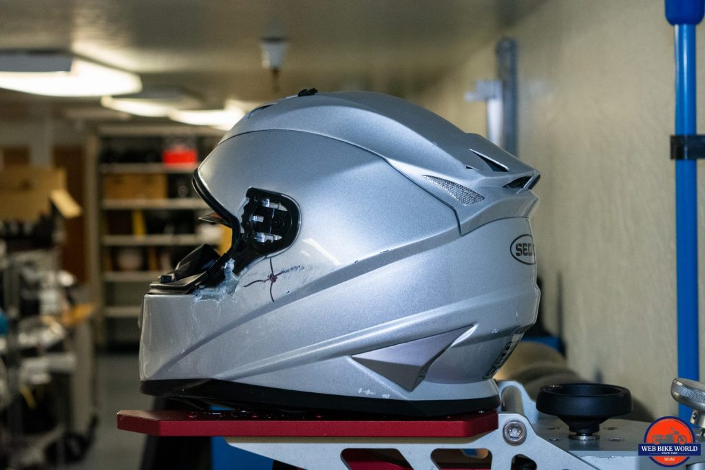"A ""dummy"" helmet used in Snell testing."