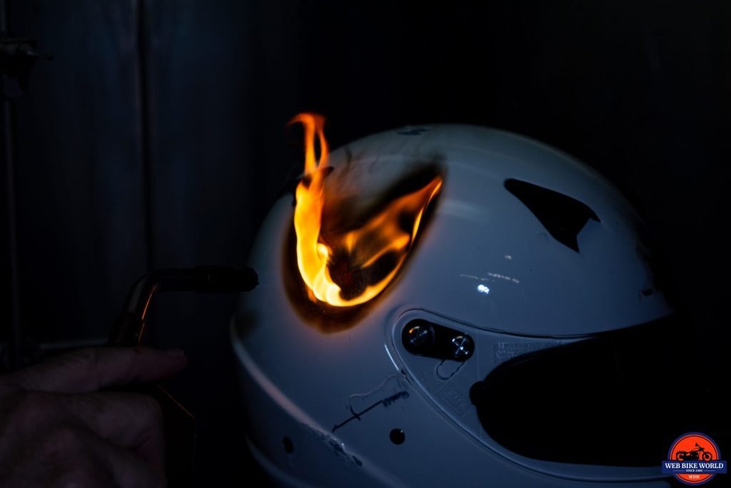 A helmet on fire at the Snell laboratory.