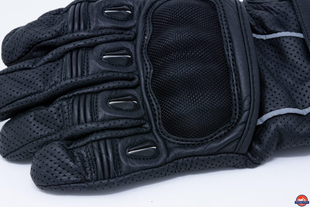 Motonation Campeon Leather Motorcycle Gloves knuckle and finger armor