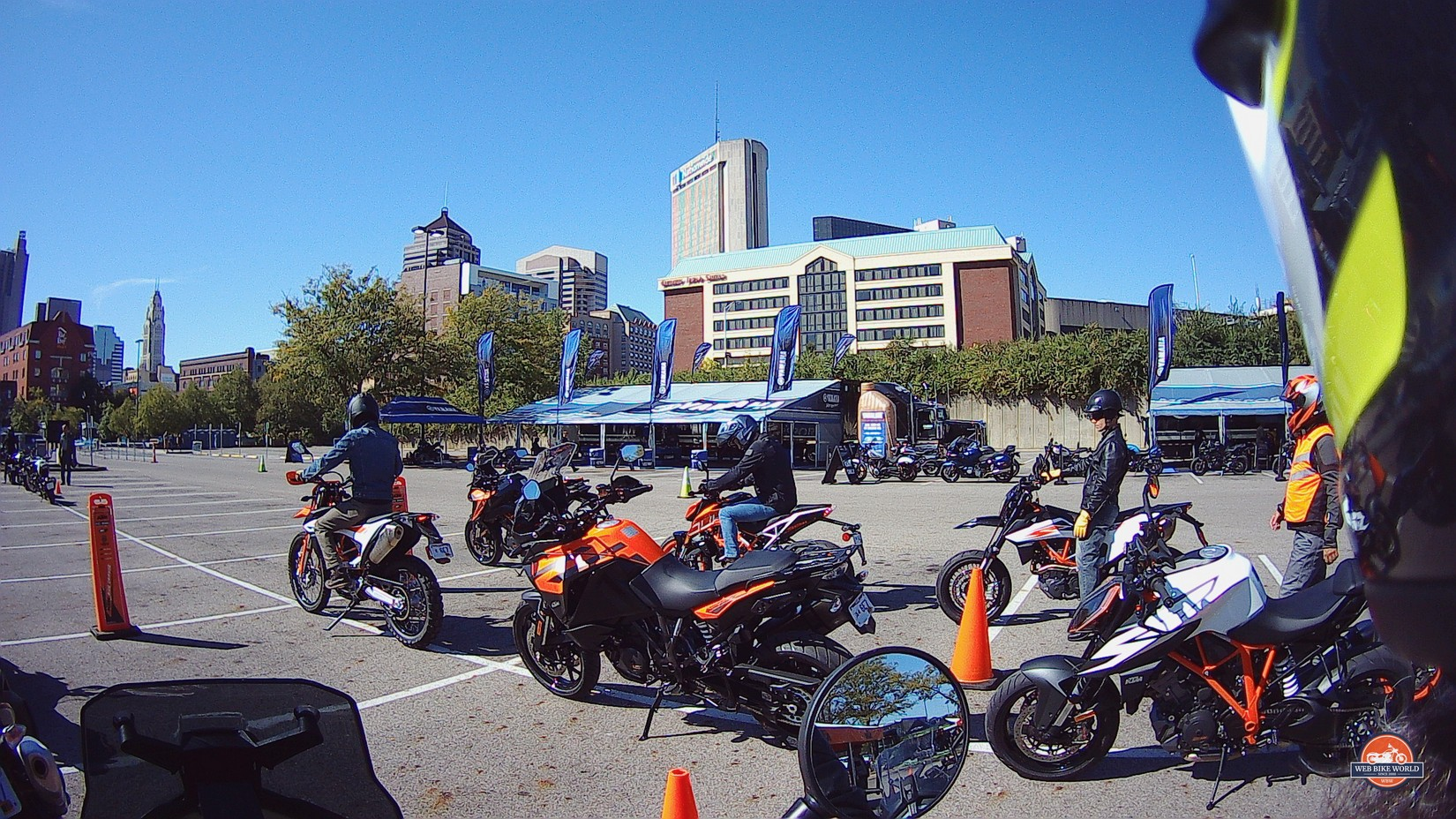Photo taken of KTM demo motorcycles by the Sena 10C Pro.