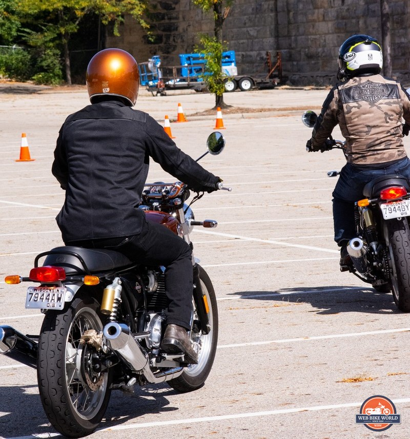 Me and Wade riding the Royal Enfield INT650.