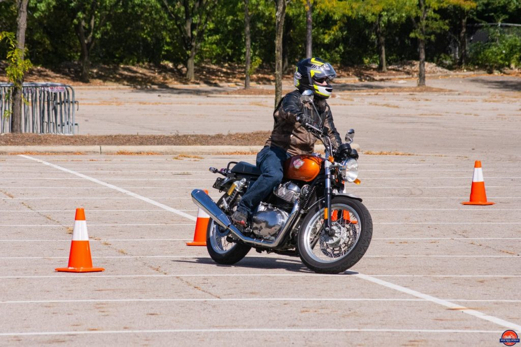 Testing maneuverability of the Royal Enfield INT650.