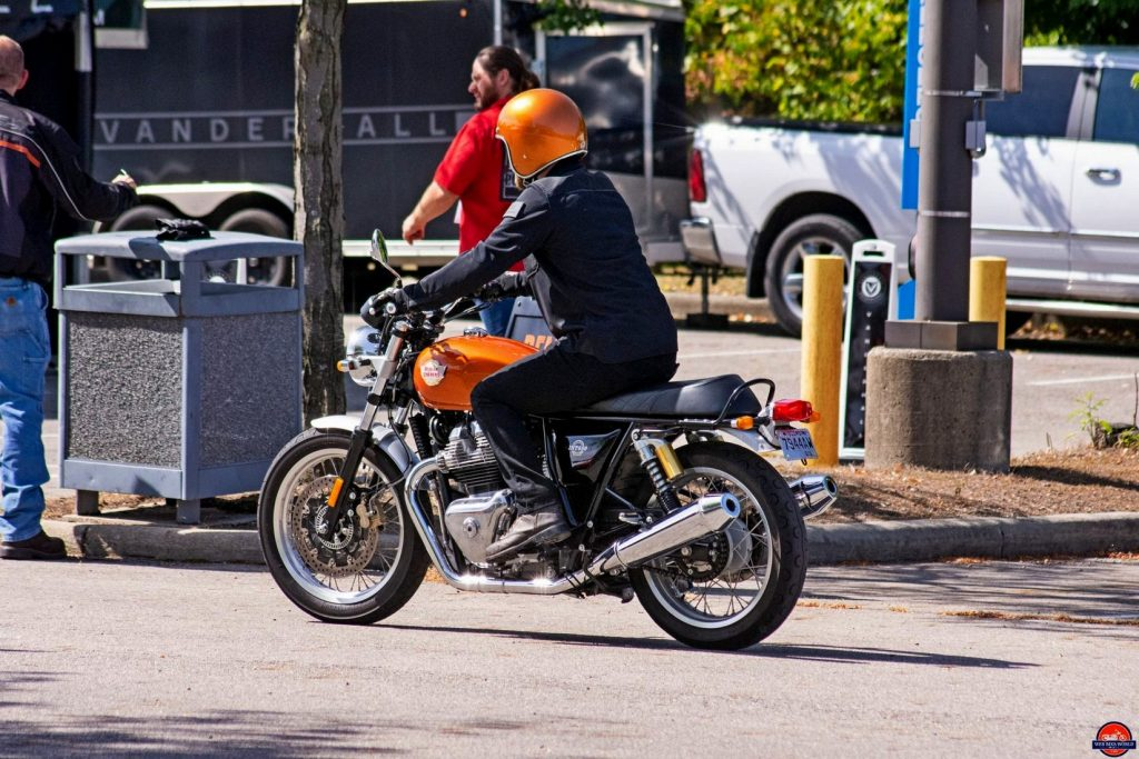 Wade riding the Royal Enfield INT650.