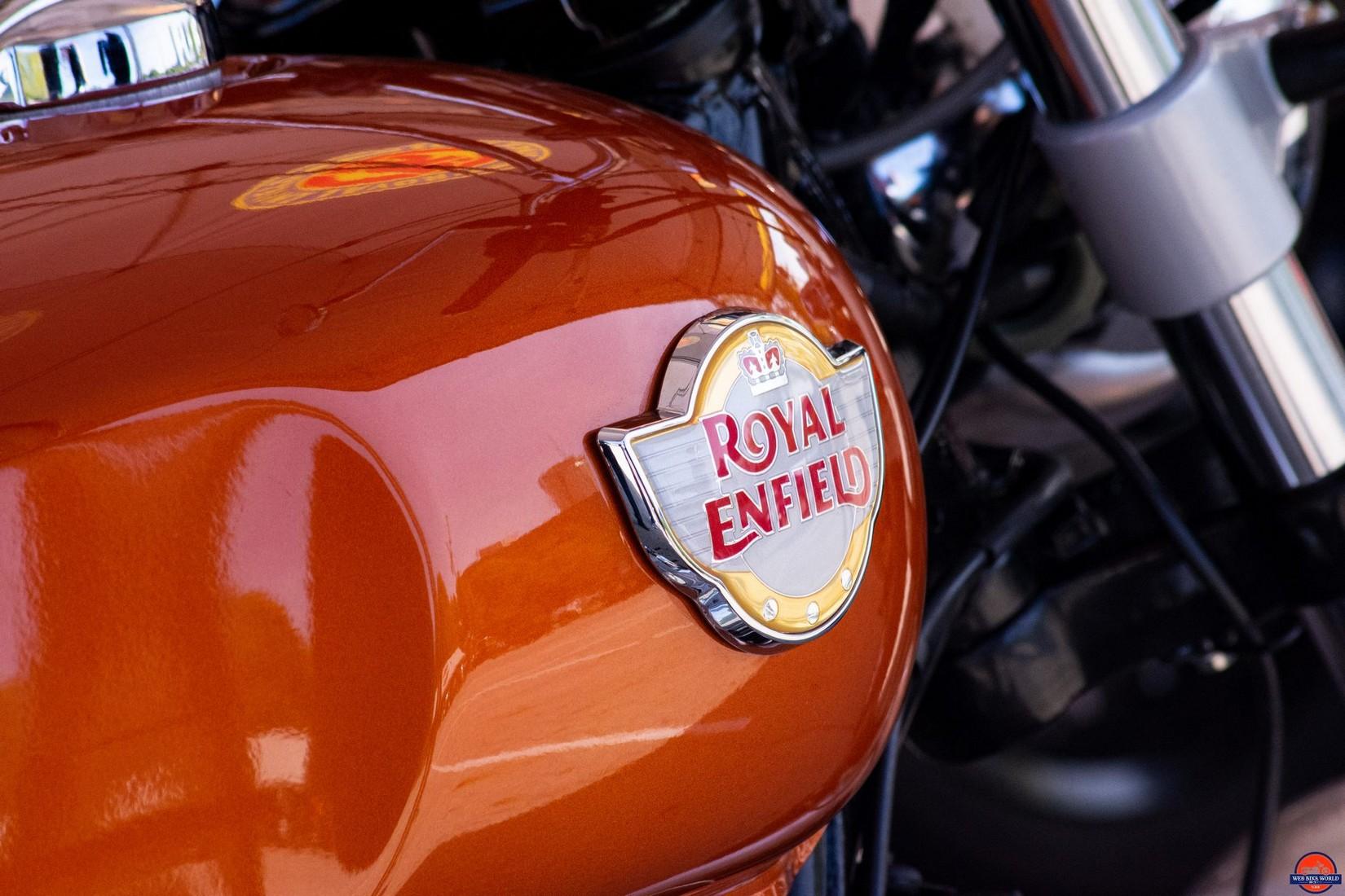 2019 Royal Enfield INT650 gas tank badging.