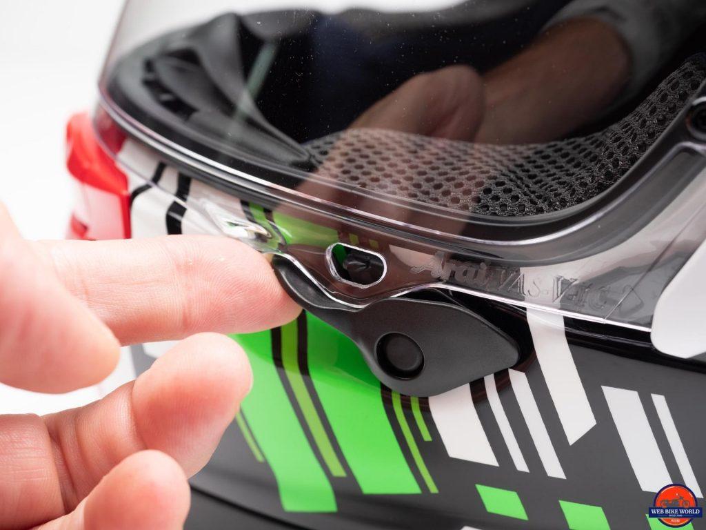 Arai Corsair-X Rea 5 Graphic Helmet visor release lever