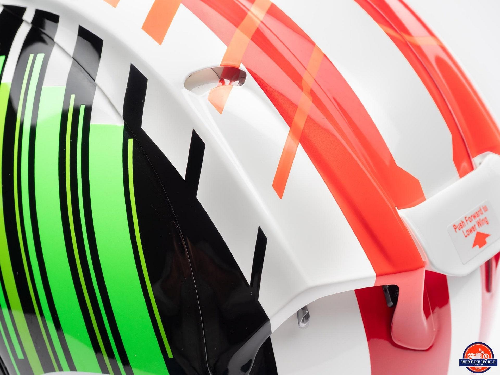 Arai Corsair-X Rea 5 Graphic Helmet rear vent actuator