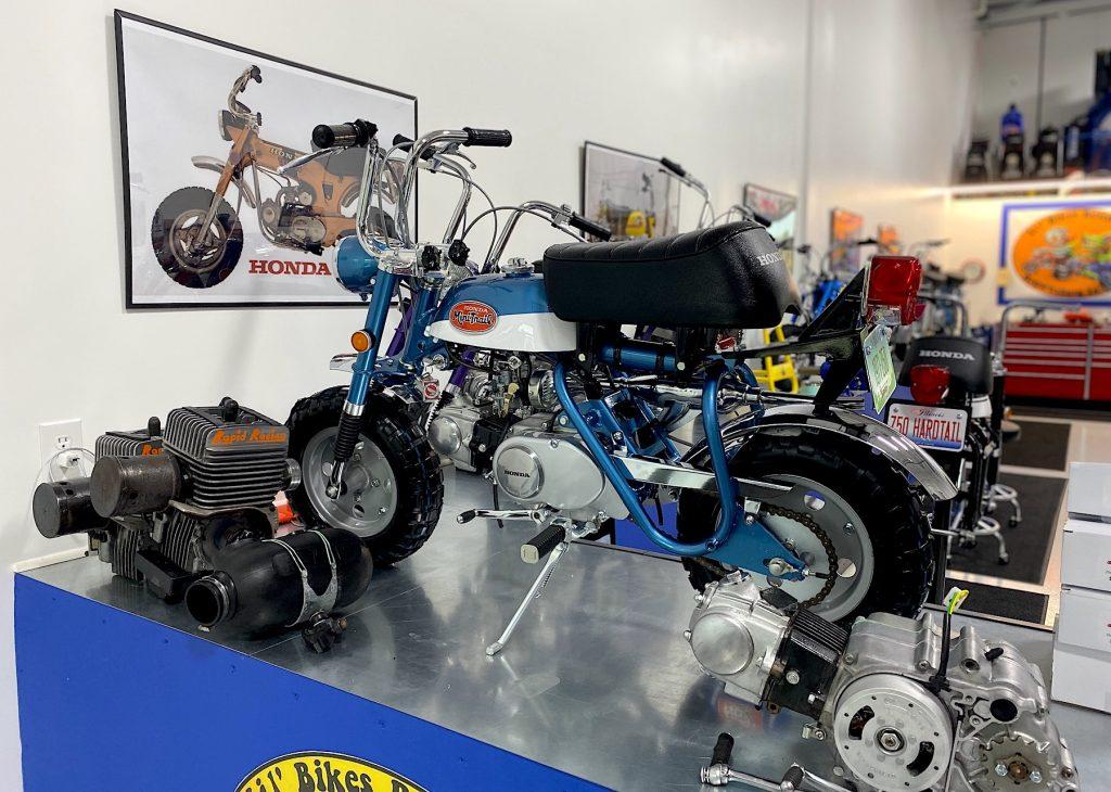 Honda Z50 compete in Lil' Bikes restoration's shop