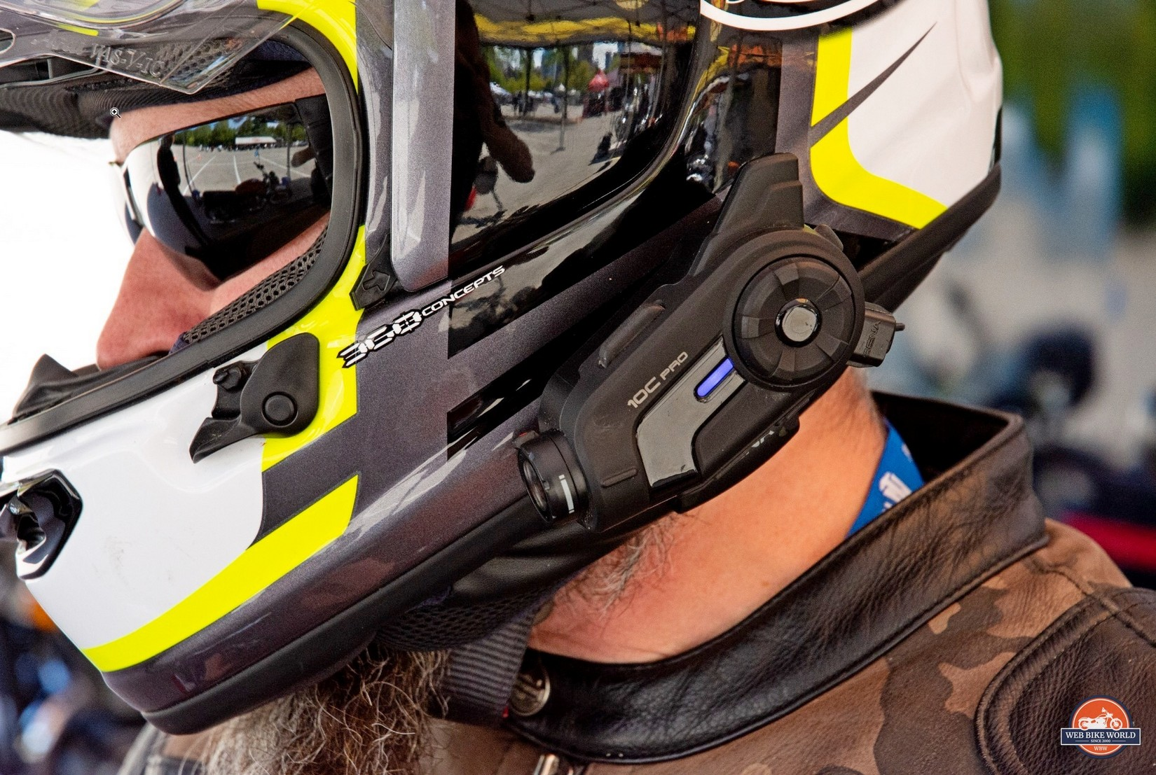The Sena 10C Pro installed on an Arai DT-X helmet.