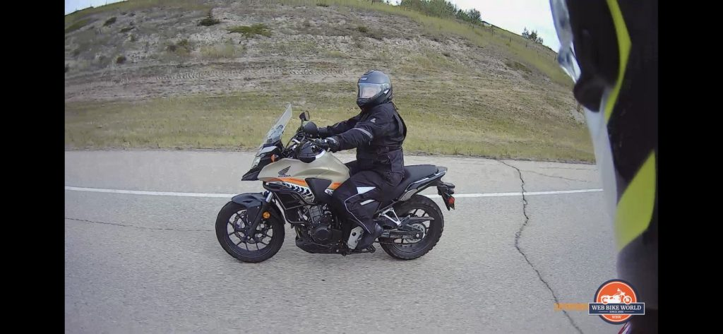 My wife riding her Honda CB500X.