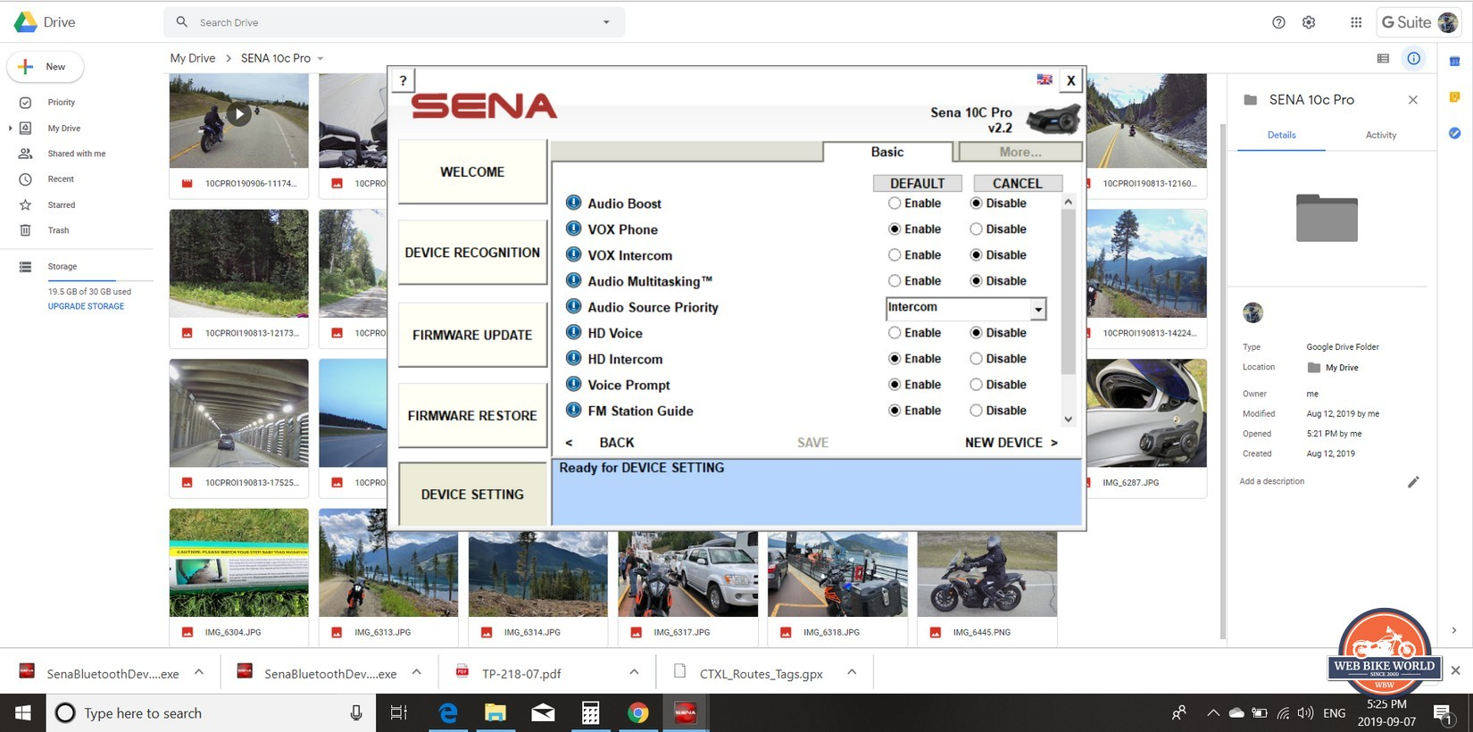 Using the Sena website to adjust settings on the 10C Pro.