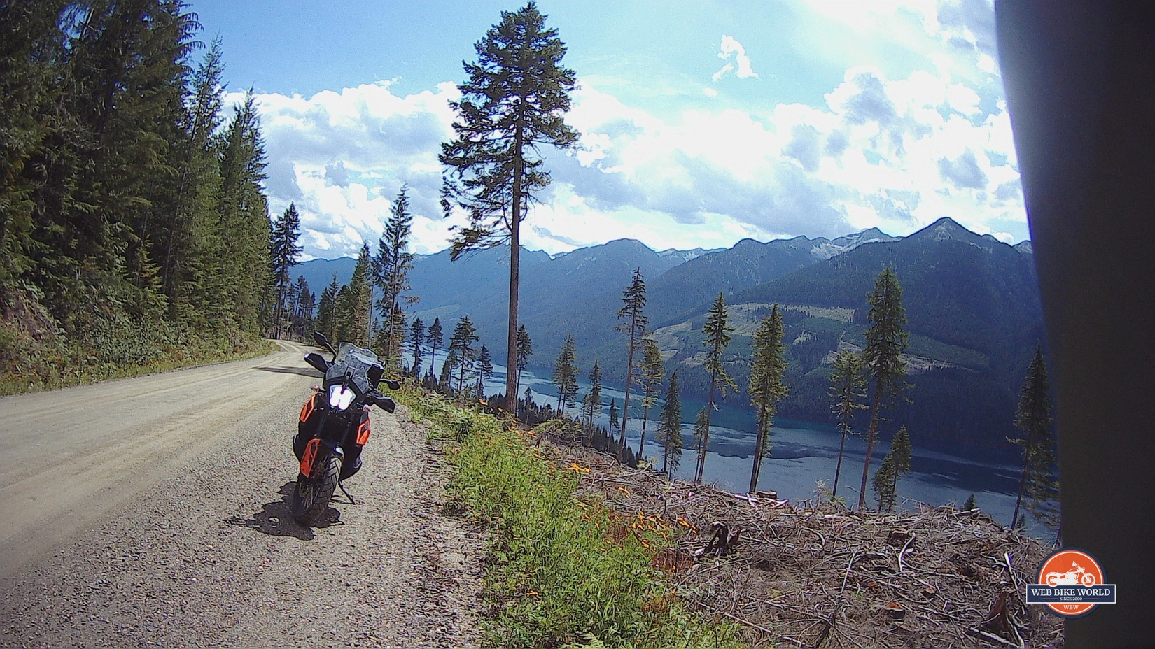 Shots of a KTM 790 Adventure by a lake in British Columbia.