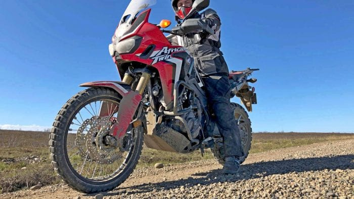 Me on a 2017 Honda Africa Twin on the Dempster Highway.