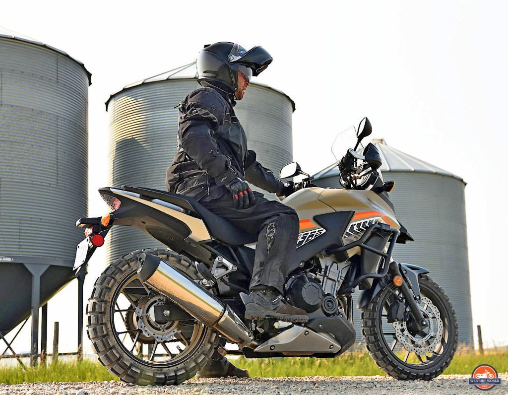 Me on a 2016 Honda CB500X outfitted with TKC80 tires.