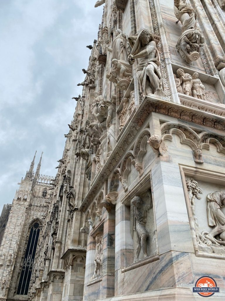 Stunning sculpture on the Duomo Cathedral in Milan, Italy.