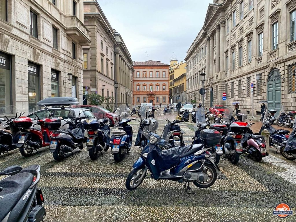 Scooters parked in the streets of Milan.
