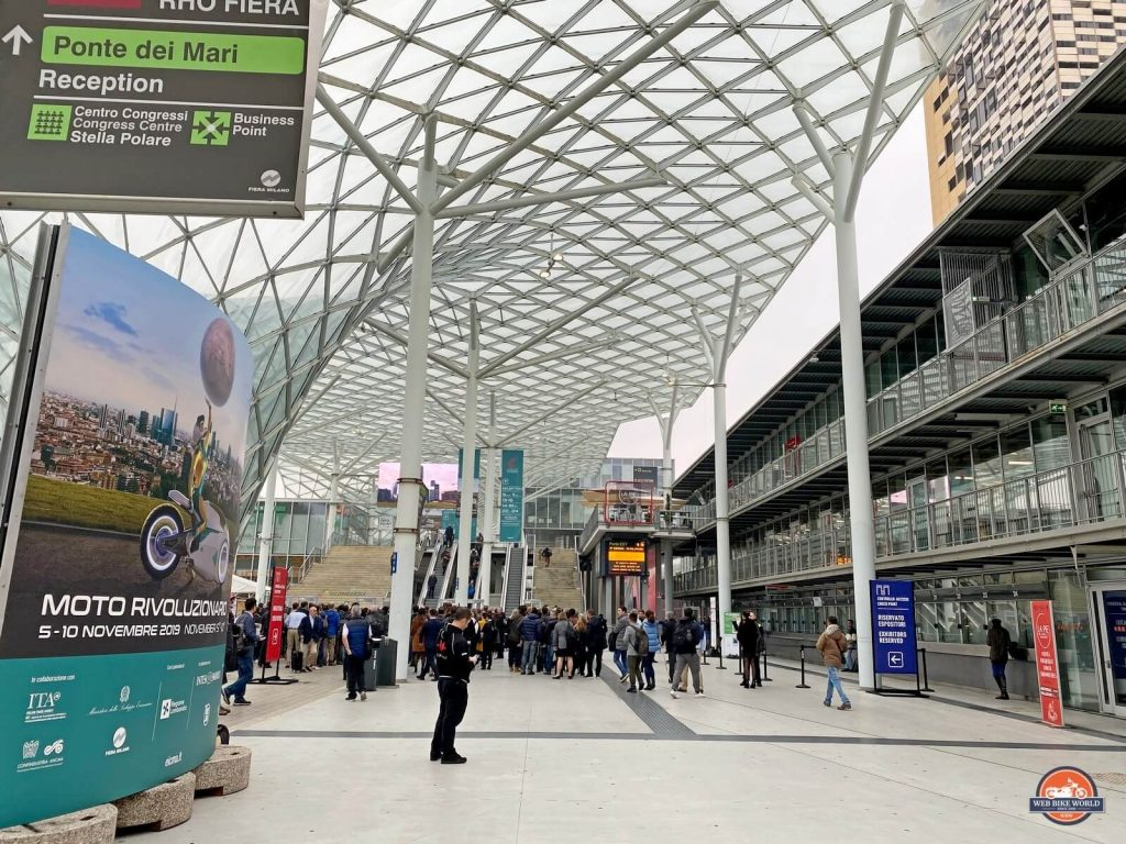 The entrance to Rho Fiera where EICMA 2019 was held.