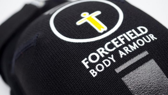 Forcefield AR Knee Protectors closeup of logo
