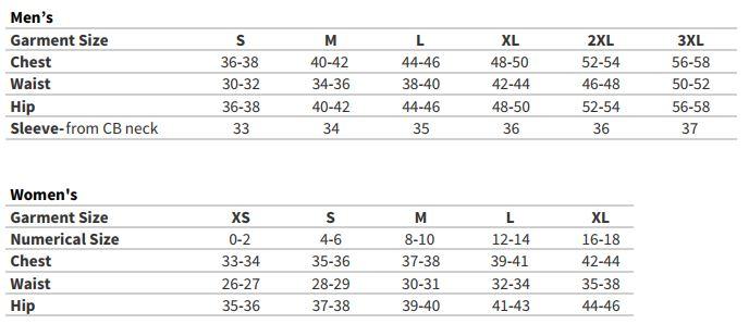 Gerbing Gyde 7V Heated Torrid Softshell Vest chart