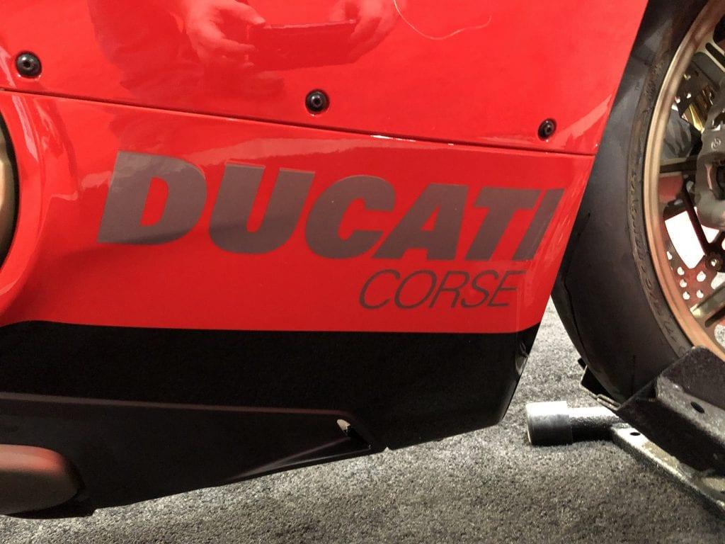 """2020 Ducati Panigale V4 916 25th Anniversario Edition lower fairing detail """"Ducati Corse"""""""