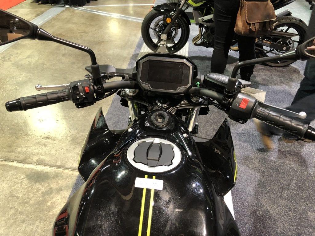 2020 Kawasaki Z650 from the seat dash details