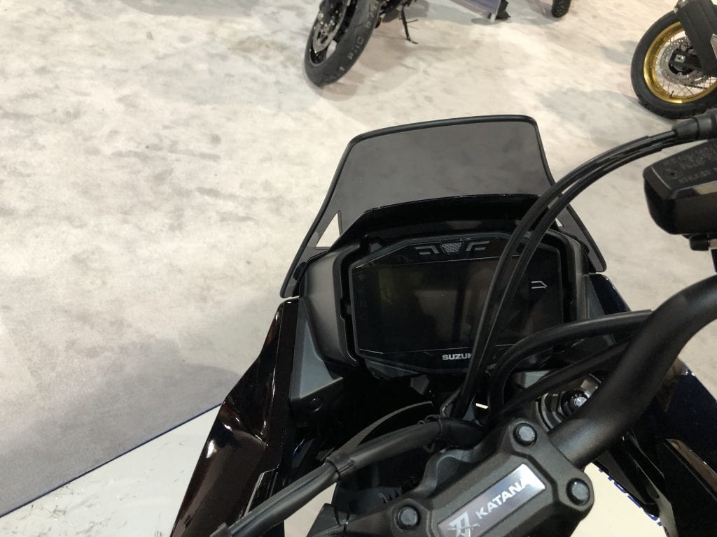 2020 Suzuki Katana from the seat view dash detail