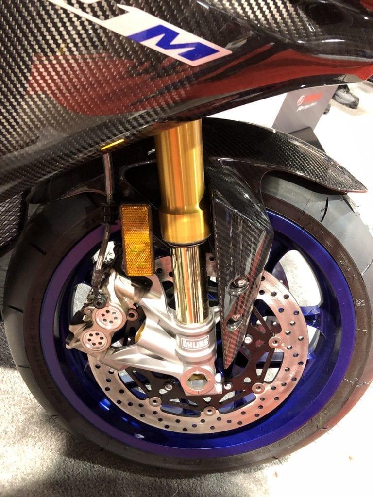 2020 Yamaha YZF-R1M front wheel, brake, and suspension detail