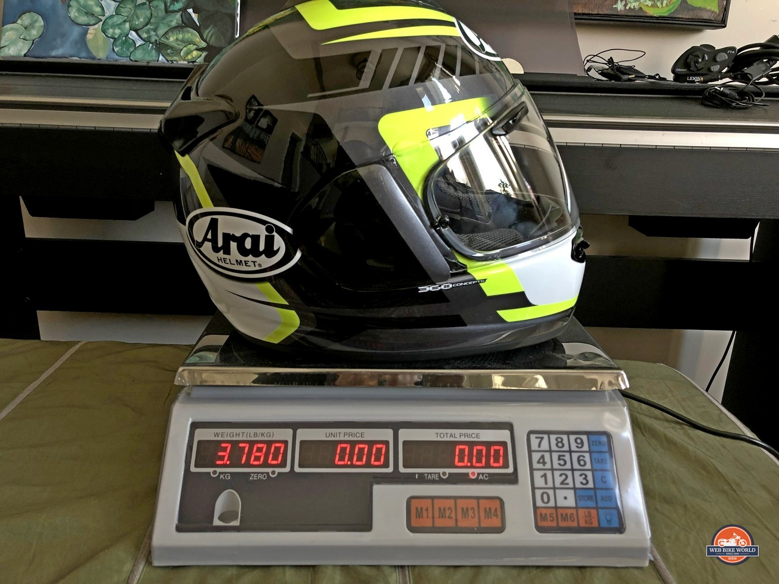 Arai DT-X on weight scale with a Sena 10C Pro