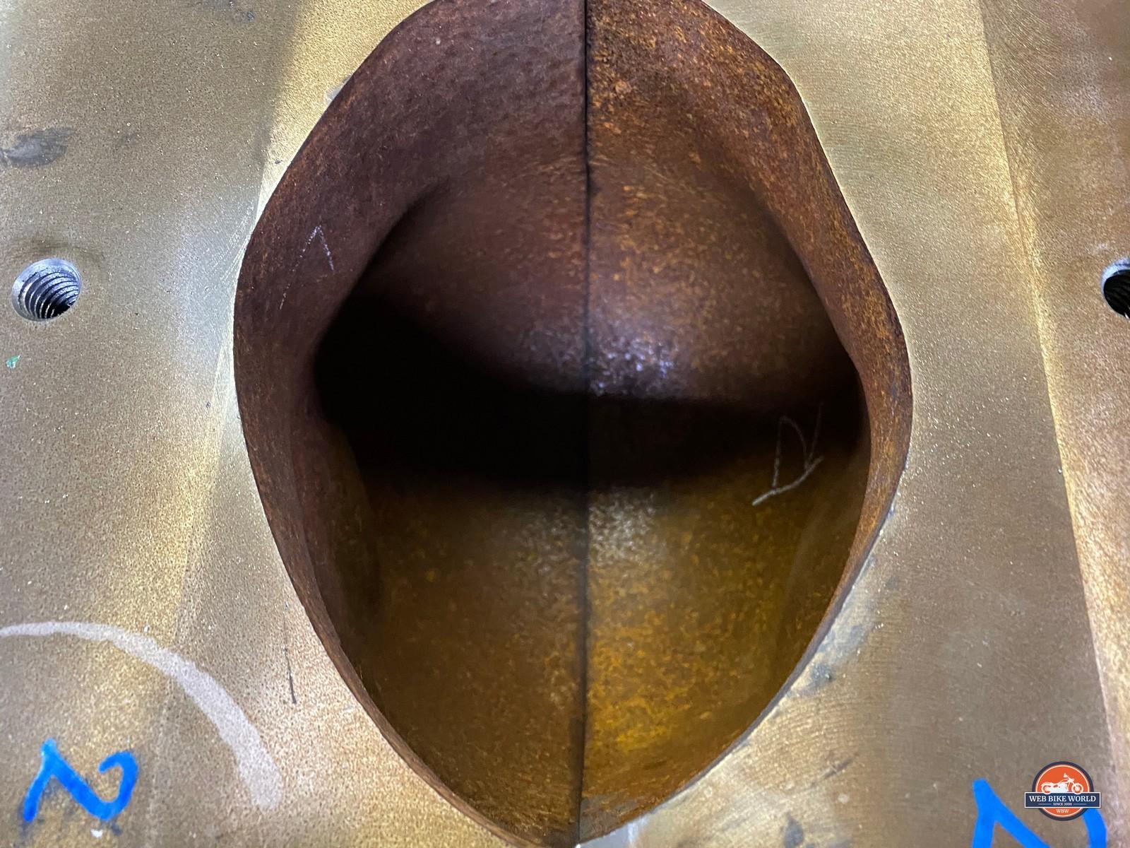 A steel helmet shell mold.