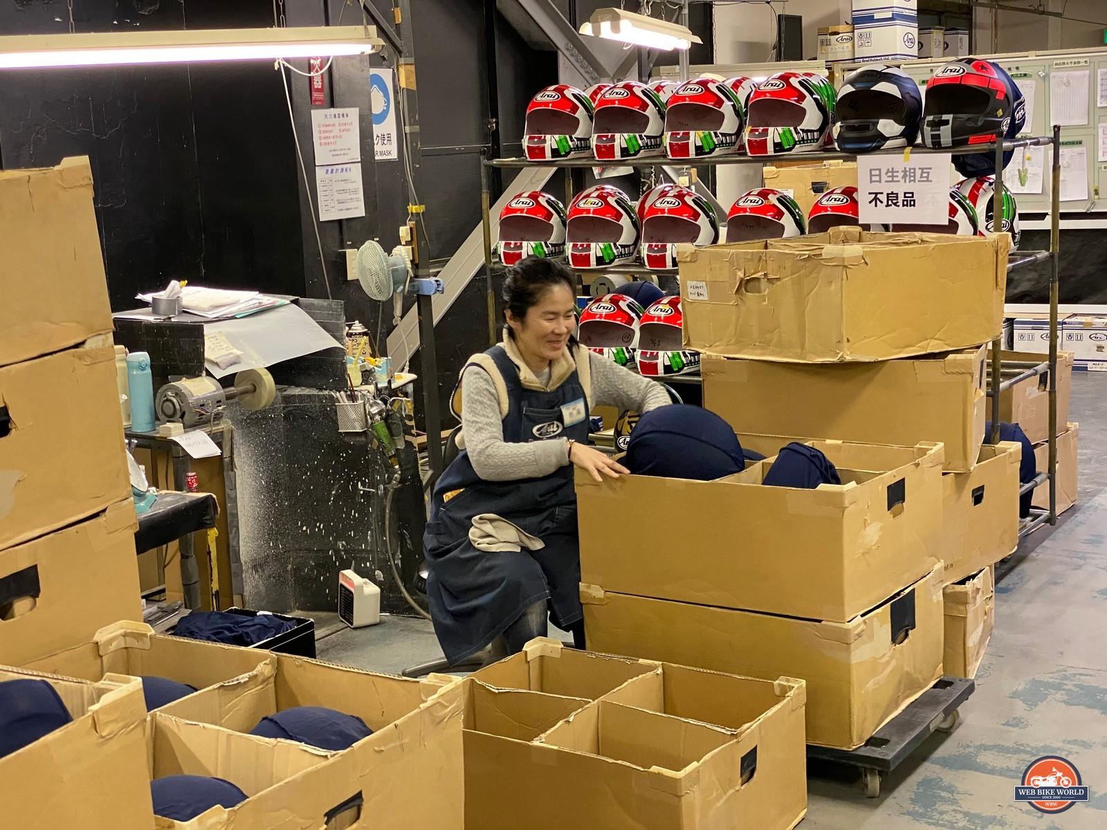 An Arai factory worker.