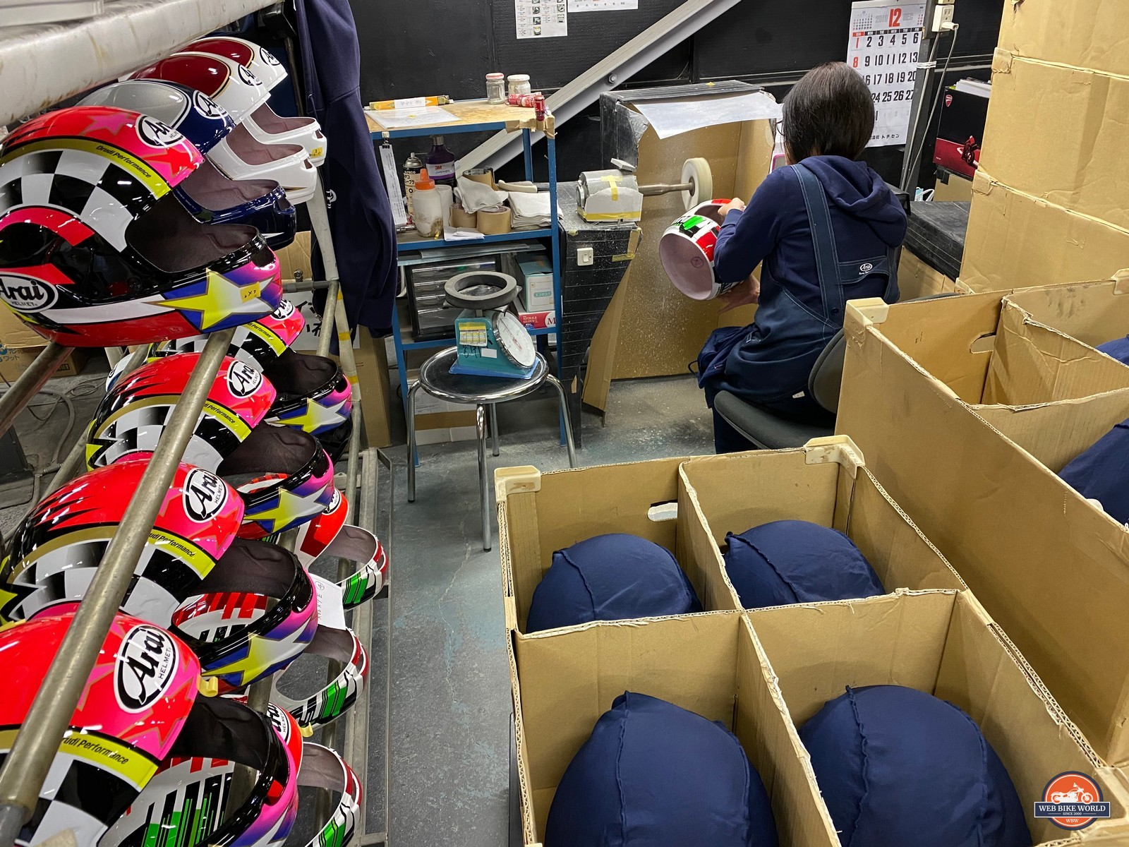 Polishing helmets at the Arai factory in Japan.