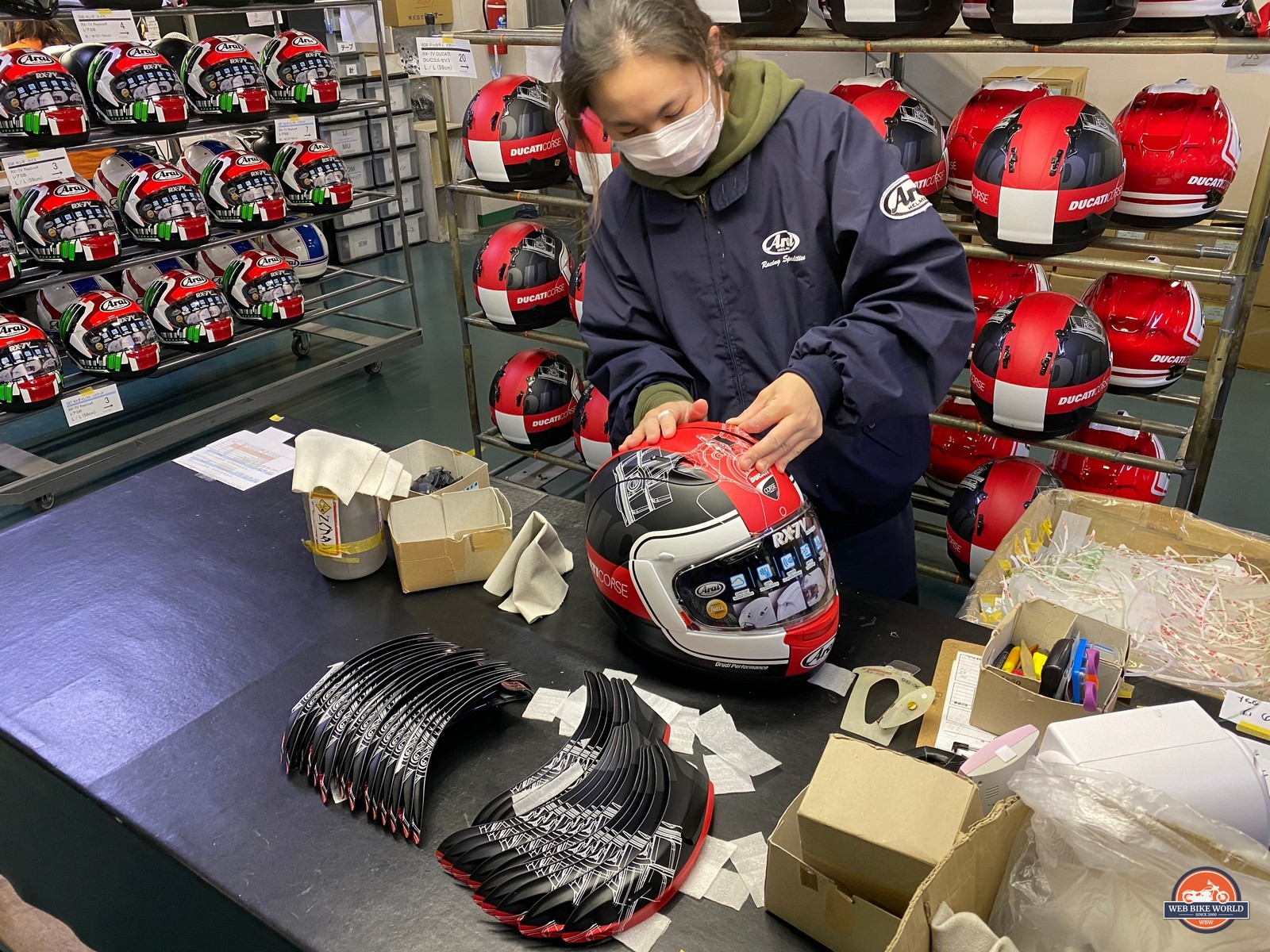 Installing diffusers on an Arai helmet.