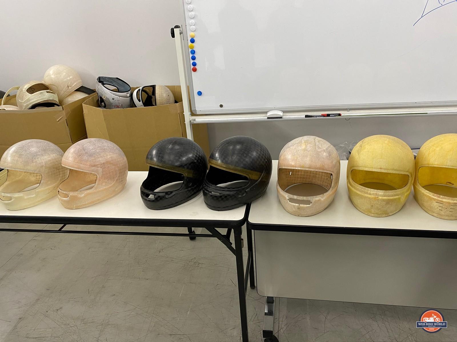 Arai helmet shells throughout history.