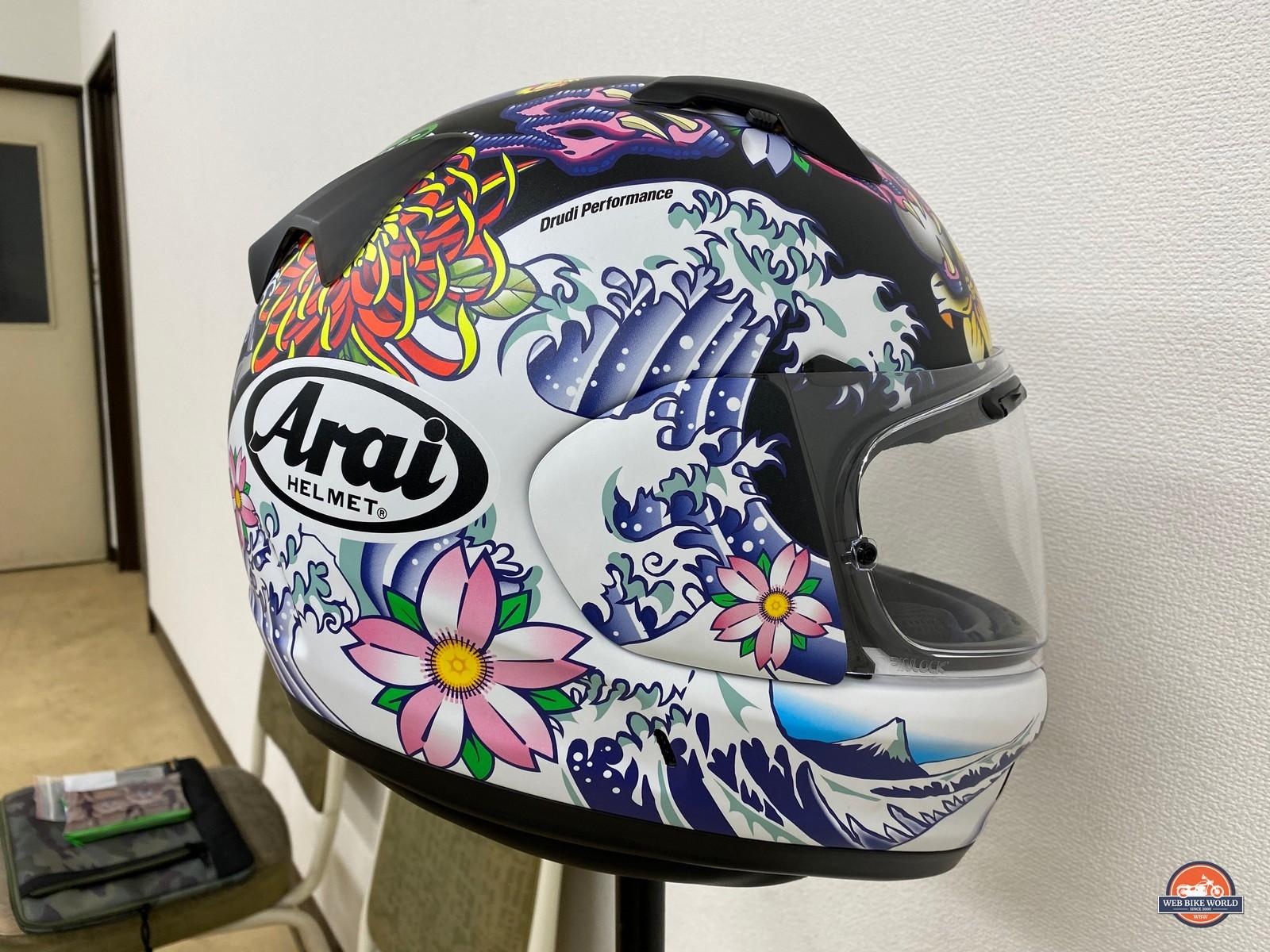 A Drudi Performance decal design on an Arai helmet.