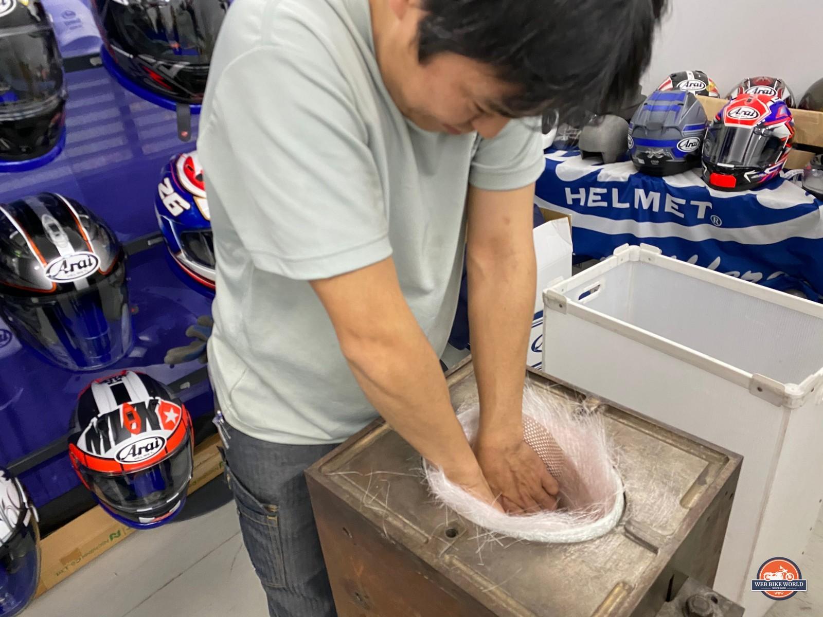 An Arai shell expert hard at work.