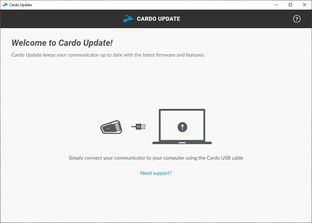 Cardo Update Tool, Pix 1 of 4, start of simple update process