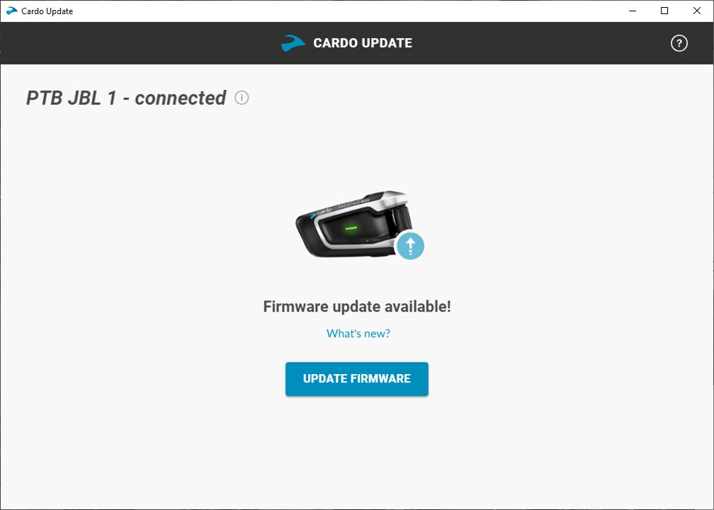 Cardo Update Tool, Pix 2 of 4, firmware update available